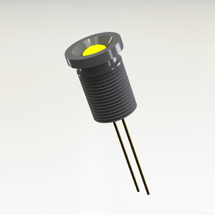 MIL-PRF-19500 / 520-01 Yellow Panel Mount Hermetic LED Indicator